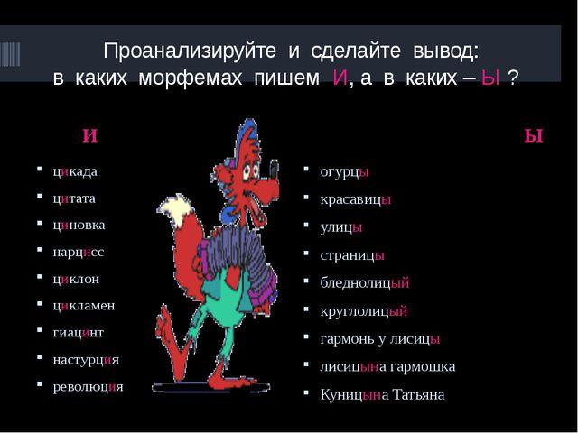 Проанализируйте и сделайте вывод: в каких морфемах пишем И, а в каких – Ы ?...