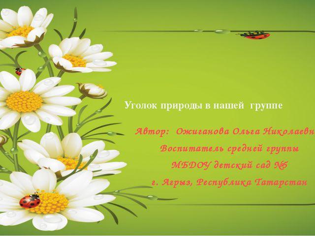 Уголок природы в нашейгруппе Автор: Ожиганова Ольга Николаевна, Воспитатель...