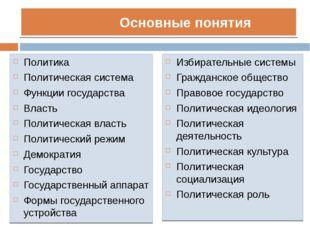 Основные понятия Политика Политическая система Функции государства Власть По