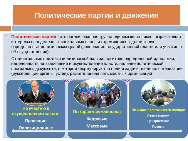 Политические партии и движения Политическая партия - это организованная групп...