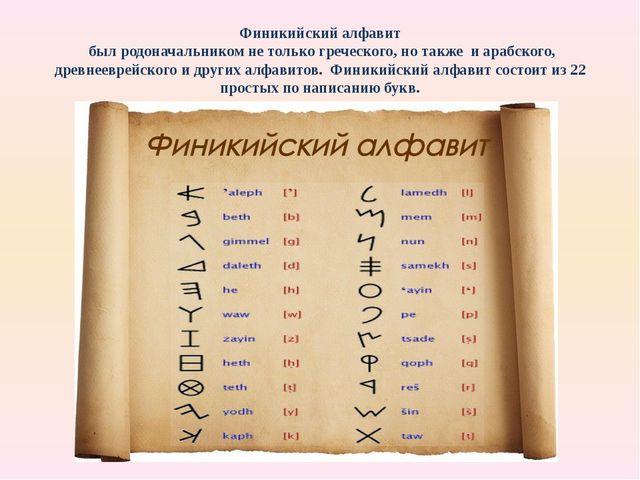 Финикийский алфавит был родоначальником не только греческого, но также и араб...