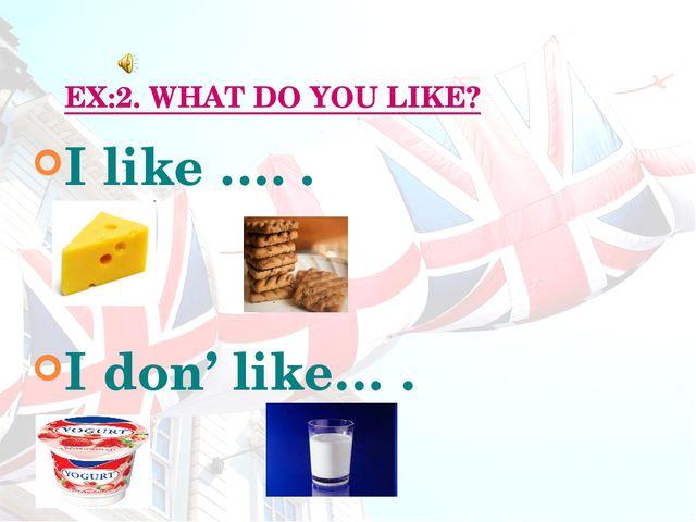 EX:2. WHAT DO YOU LIKE? I like …. . I don' like… .