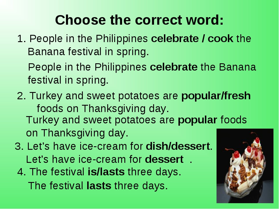 Choose the correct word: 1. People in the Philippines celebrate / cook the Ba...