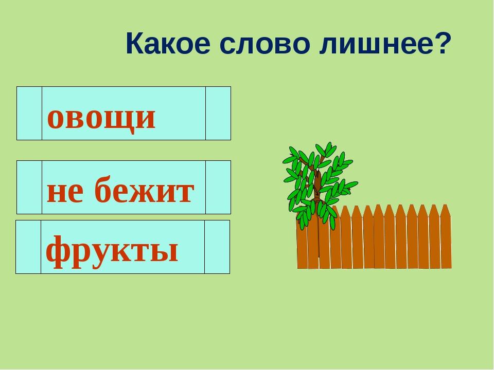 Какое слово лишнее? овощи не бежит фрукты