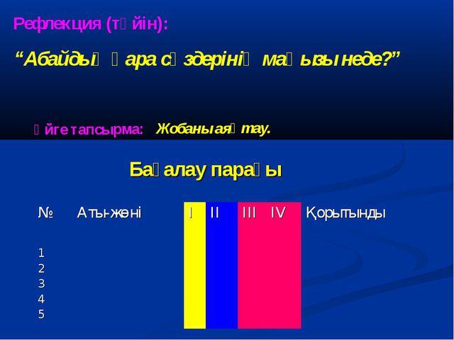 """Бағалау парағы Рефлекция (түйін): """"Абайдың қара сөздерінің маңызы неде?"""" Үйге..."""