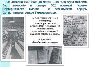 От декабря 1943 года до марта 1944 года Муса Джалиль был заключён в камере 3