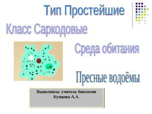 Выполнила: учитель биологии Купцова А.А.