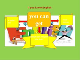 you can get If you know English, a better job more money people will respect