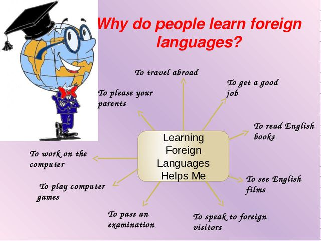 Why do people learn foreign languages? Learning Foreign Languages Helps Me To...