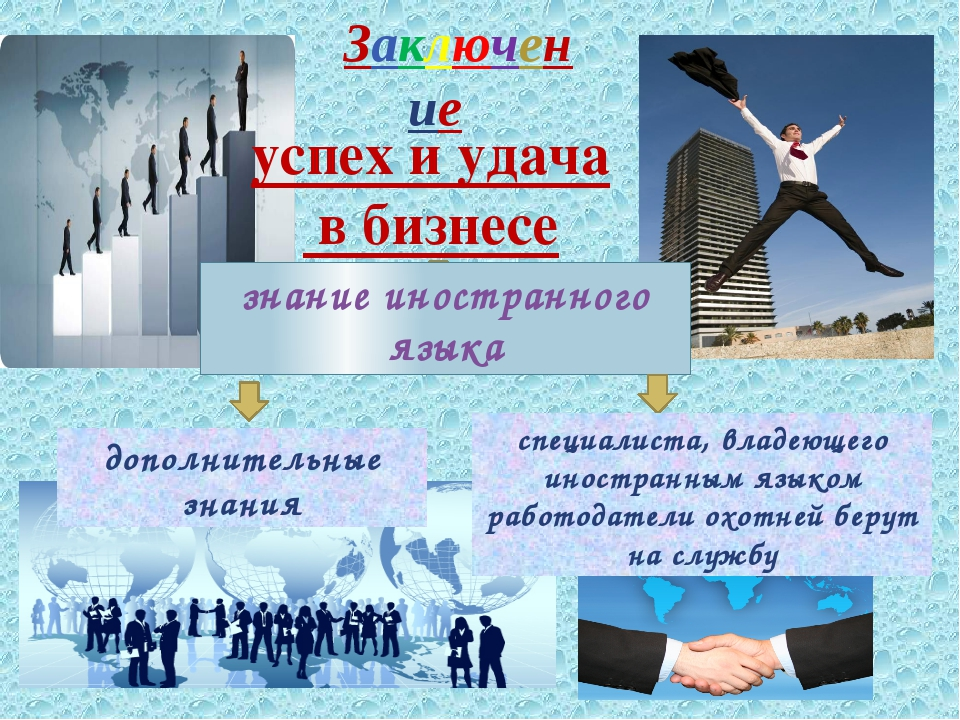 Заключение успех и удача в бизнесе знание иностранного языка дополнительные...