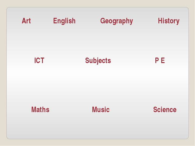 Subjects English Geography Art ICT Maths Music P E Science History