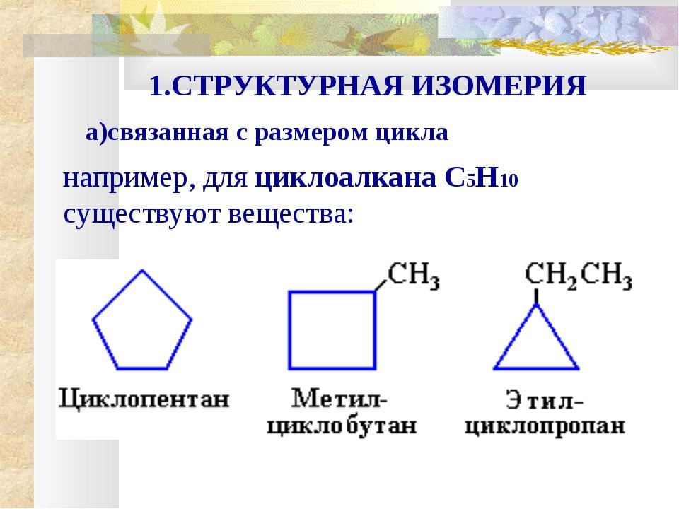 например, для циклоалкана С5Н10 существуют вещества: 1.СТРУКТУРНАЯ ИЗОМЕРИЯ...