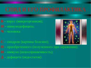 СПИД И ЕГО ПРОФИЛАКТИКА В – вирус (микроорганизм); И – иммунодефицита; Ч – че