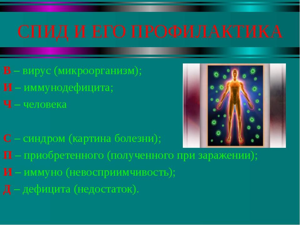 СПИД И ЕГО ПРОФИЛАКТИКА В – вирус (микроорганизм); И – иммунодефицита; Ч – че...