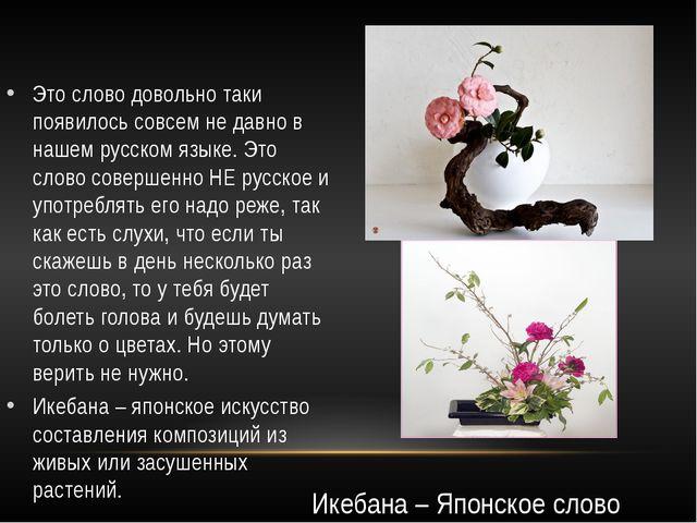 Это слово довольно таки появилось совсем не давно в нашем русском языке. Это...