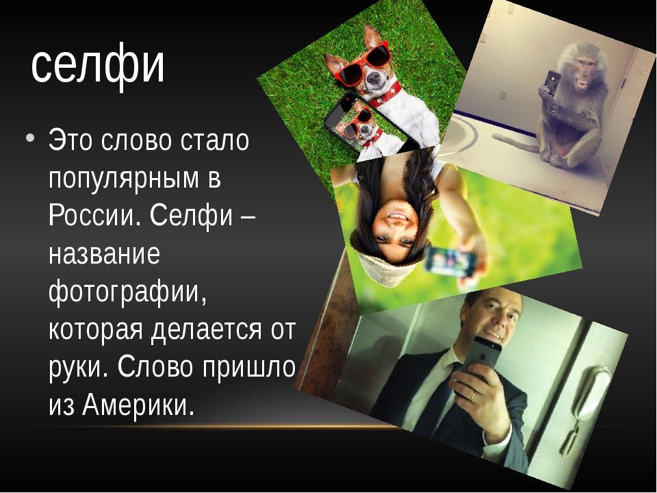 Это слово стало популярным в России. Селфи – название фотографии, которая дел...