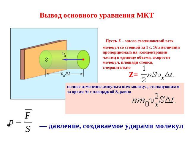Вывод основного уравнения МКТ — давление, создаваемое ударами молекул полное...