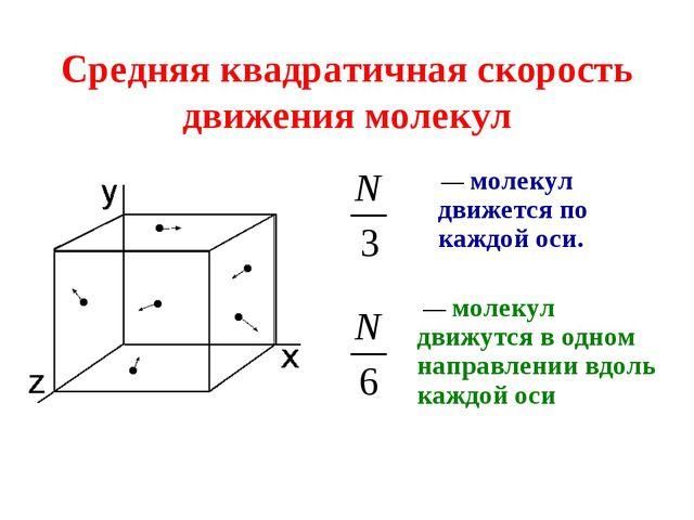 Средняя квадратичная скорость движения молекул — молекул движется по каждой о...