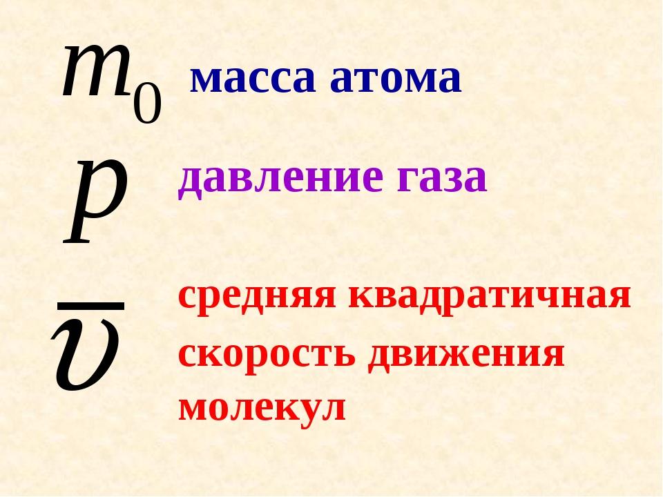 масса атома давление газа средняя квадратичная скорость движения молекул