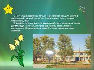 В настоящее время в х. Качалине действуют средняя школа с дошкольной группой