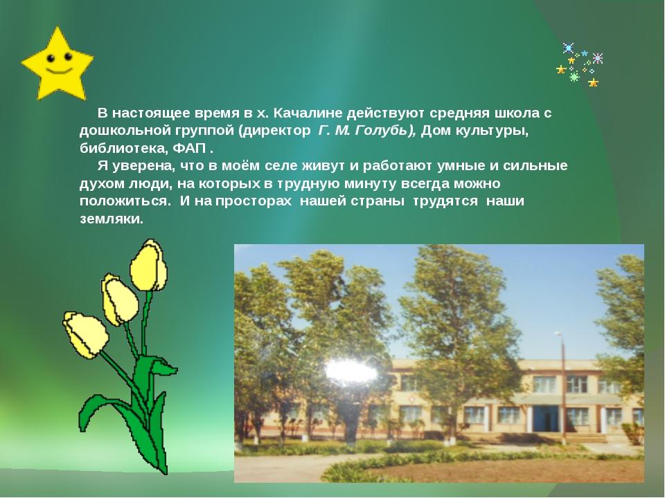 В настоящее время в х. Качалине действуют средняя школа с дошкольной группой...
