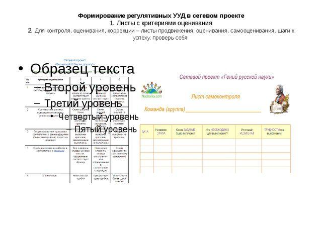 Формирование регулятивных УУД в сетевом проекте 1. Листы с критериями оценива...