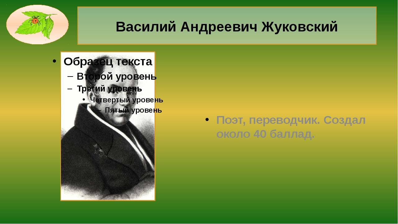Василий Андреевич Жуковский Поэт, переводчик. Создал около 40 баллад.