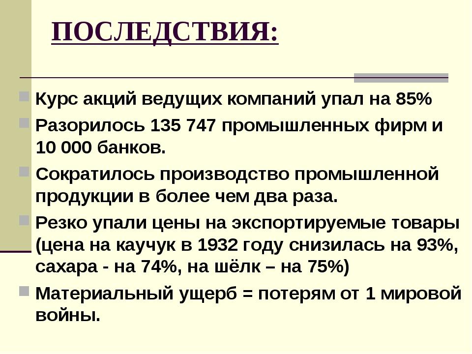 ПОСЛЕДСТВИЯ: Курс акций ведущих компаний упал на 85% Разорилось 135 747 промы...