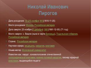 Николай Иванович Пирогов Дата рождения: 13(25)ноября 1810(1810-11-25) Место