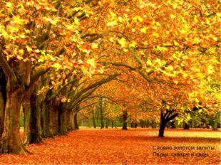 Словно золотом залиты Парки, скверы и сады...