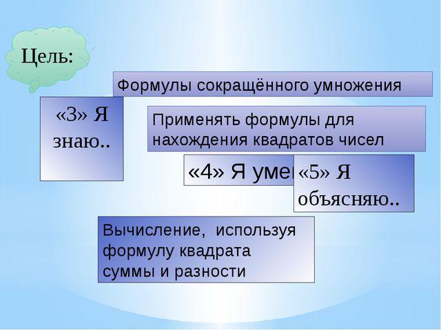 Цель: «3» Я знаю.. Формулы сокращённого умножения «4» Я умею… Применять форму...