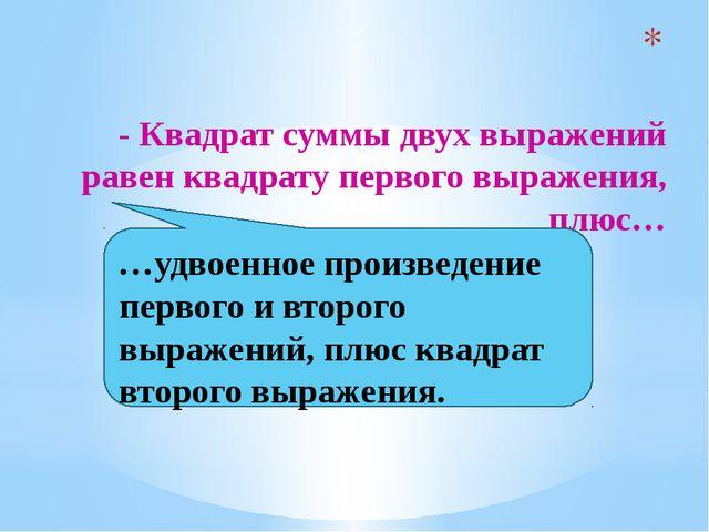 - Квадрат суммы двух выражений равен квадрату первого выражения, плюс… …удво...
