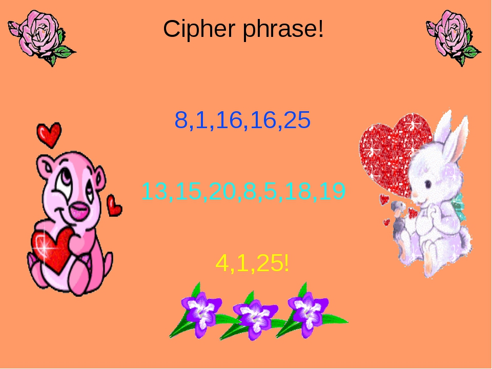 Cipher phrase! 8,1,16,16,25 13,15,20,8,5,18,19 4,1,25!