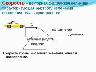 Скорость – векторная физическая величина, характеризующая быстроту изменения