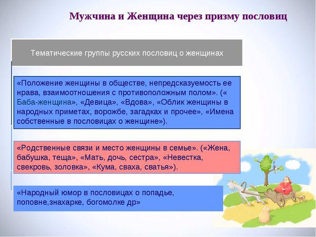 Мужчина и Женщина через призму пословиц Тематические группы русских пословиц...