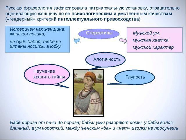 Русская фразеология зафиксировала патриархальную установку, отрицательно оцен...