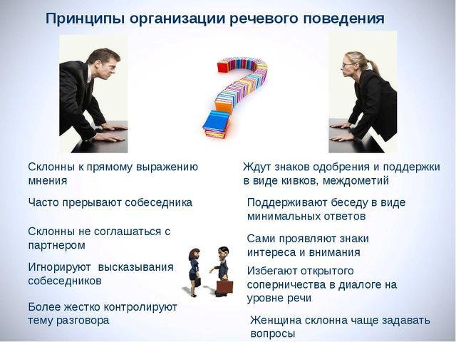 Принципы организации речевого поведения Поддерживают беседу в виде минимальны...