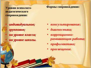 Уровни психолого-педагогического сопровождения: индивидуальное; групповое; н