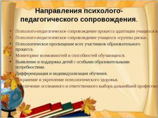 Направления психолого-педагогического сопровождения. Психолого-педагогическо