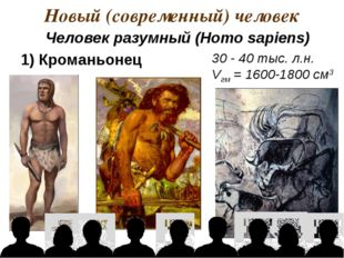 Новый (современный) человек 30 - 40 тыс. л.н. Vгм = 1600-1800 см3 1) Кроманьо