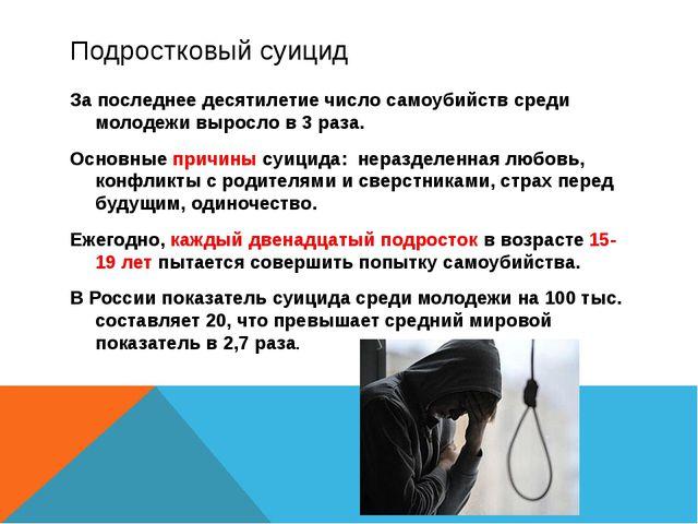 Подростковый суицид За последнее десятилетие число самоубийств среди молодежи...