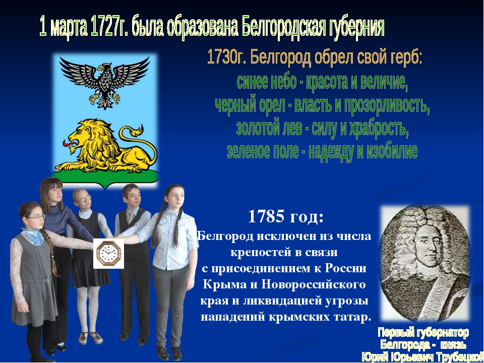 1785 год: Белгород исключен из числа крепостей в связи с присоединением к Рос...