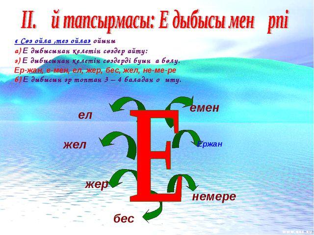 « Сөз ойла ,тез ойла» ойыны а) Е дыбысынан келетін сөздер айту: ә) Е дыбысына...