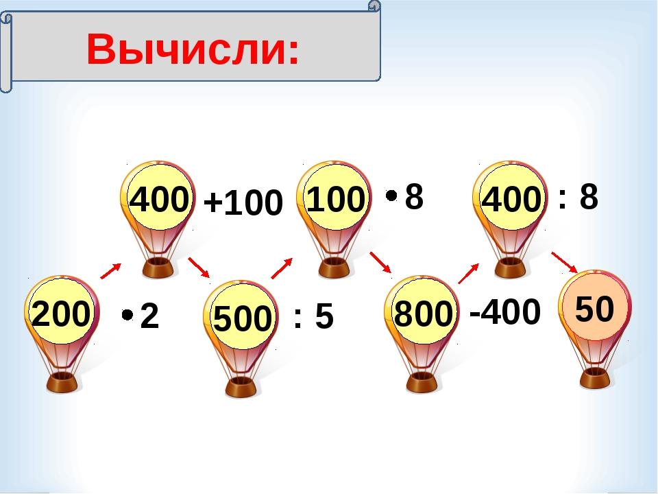 2 : 5 -400 8 : 8 +100 Вычисли: 50 200 400 500 100 800 400