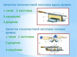 Зачистка тонколистовой заготовки вдоль кромок: 1 тиски Зачистка тонколистовой