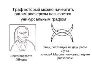 Граф который можно начертить одним росчерком называется уникурсальным графом