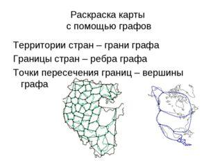 Раскраска карты с помощью графов Территории стран – грани графа Границы стран