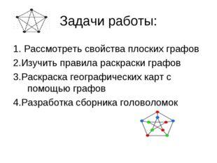 Задачи работы: 1. Рассмотреть свойства плоских графов 2.Изучить правила раскр