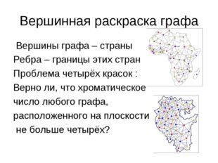 Вершинная раскраска графа Вершины графа – страны Ребра – границы этих стран П