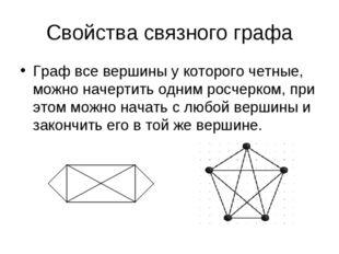 Свойства связного графа Граф все вершины у которого четные, можно начертить о